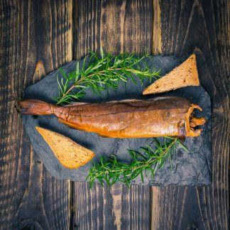 Arbroath haddock smokies on a slate background