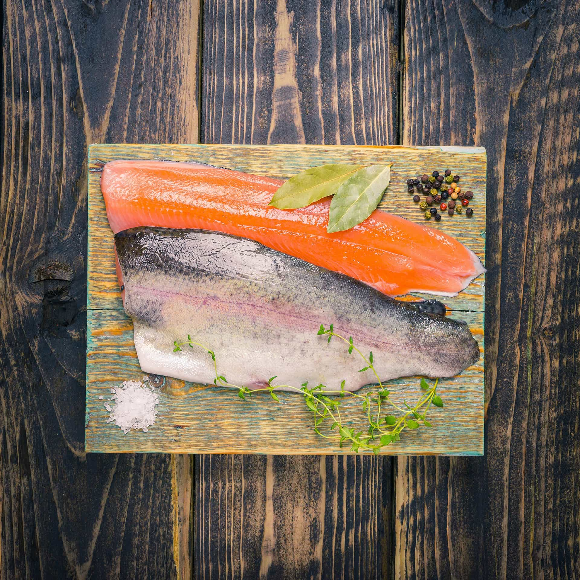 Trout fillets on a chopping board
