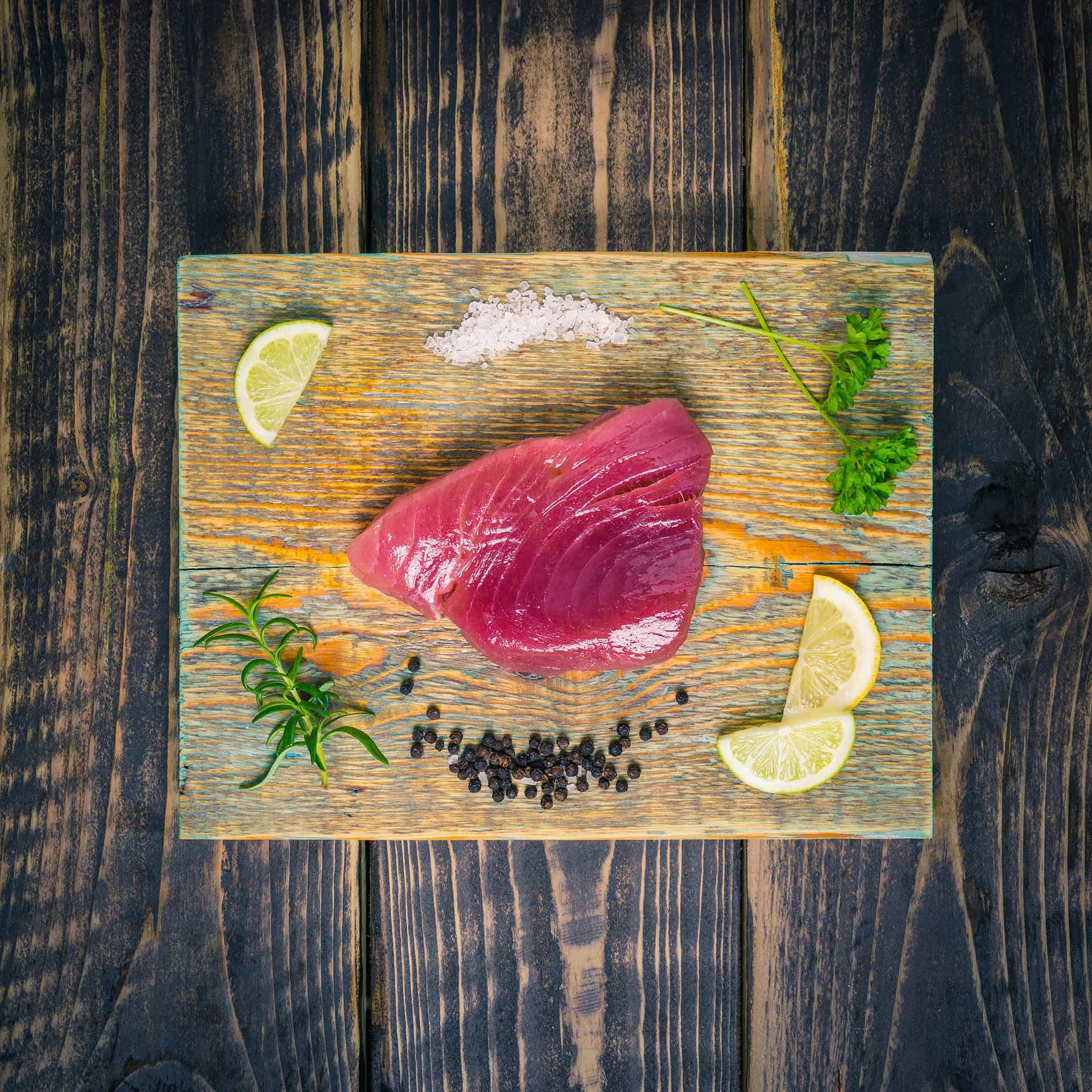 Tuna steak on a chopping board
