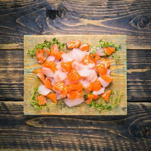 Fish pie mix on a chopping board