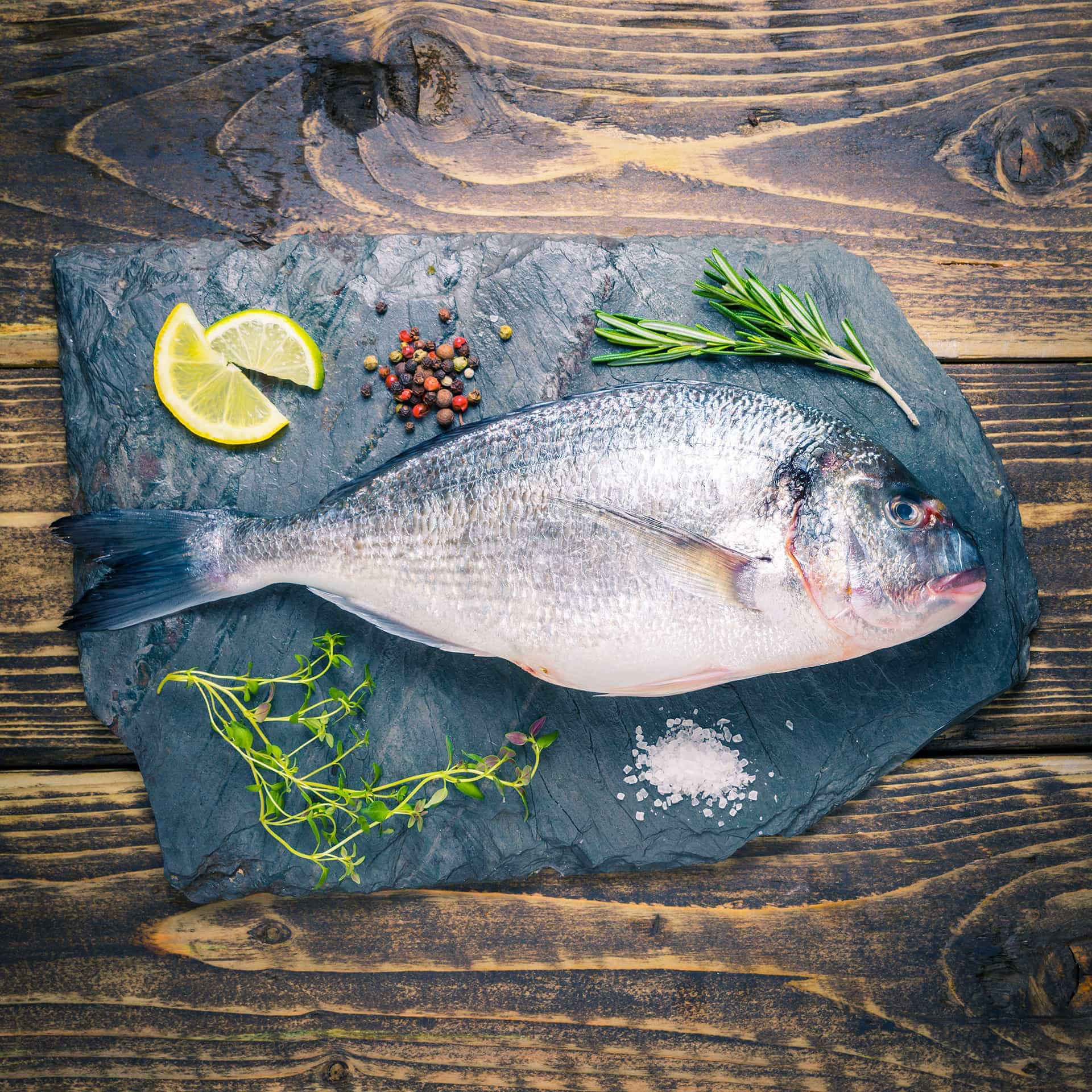 Whole sea bream on a slate background