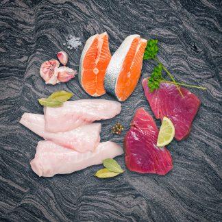 Monkfish fillets, salmon steaks and tuna steaks