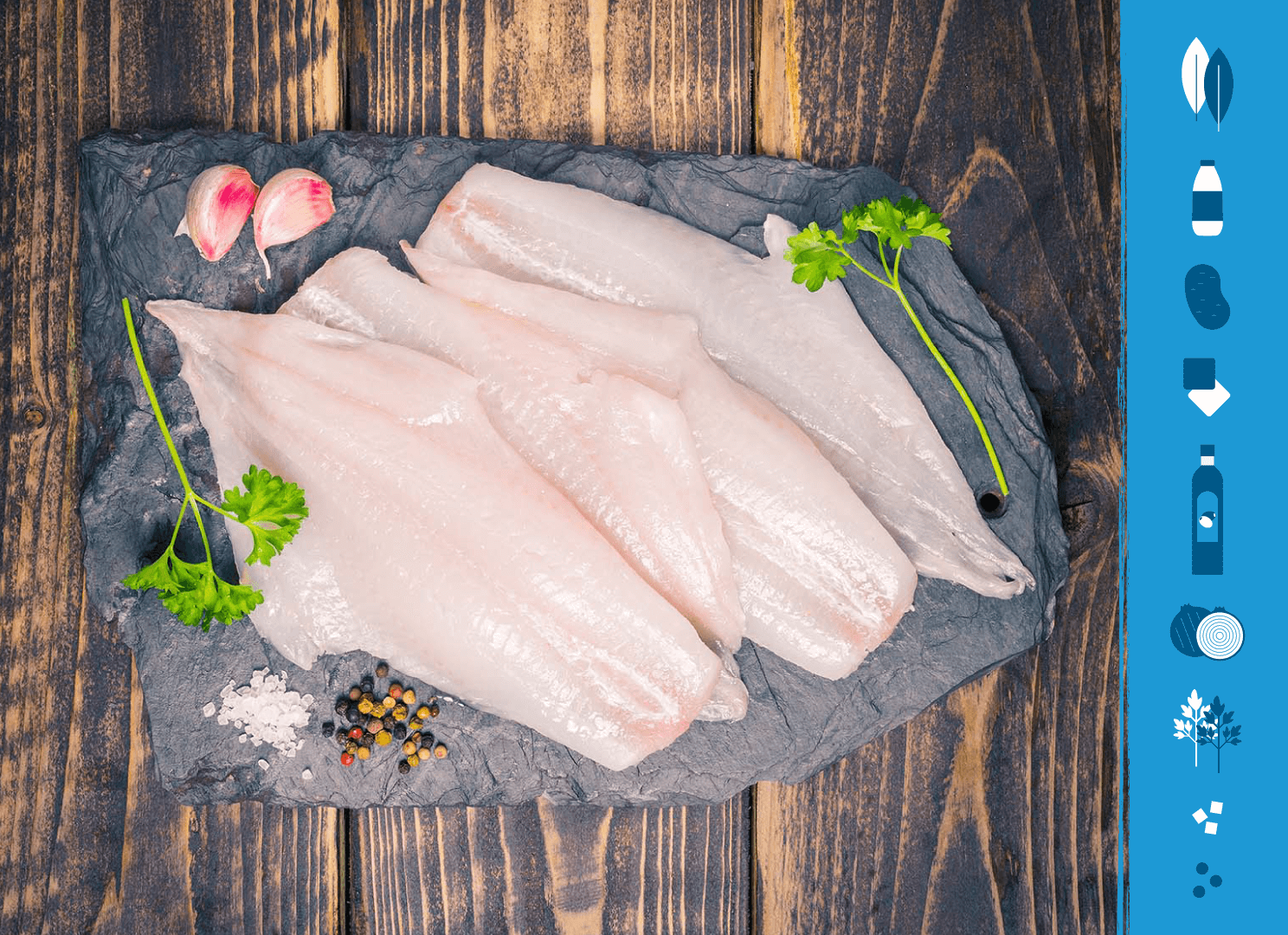 Haddock fillets on a slate background next to illustrations of the ingredients needed to make Cullen Skink