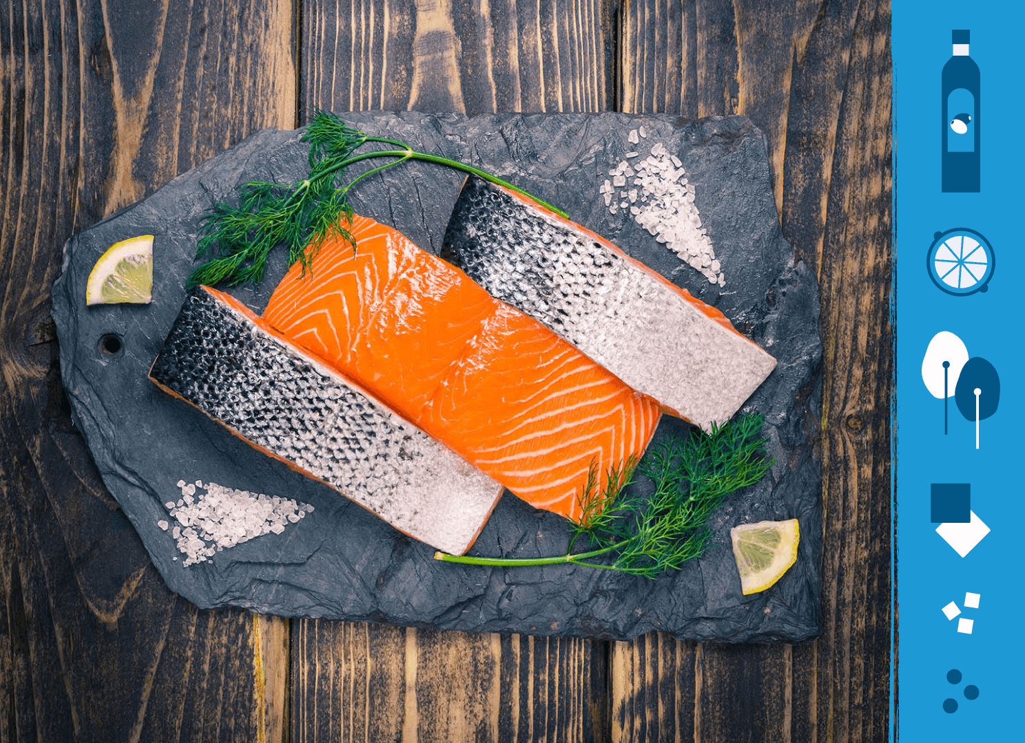 Salmon fillets on a slate background next to illustrations of the ingredients needed to make salmon and spinach